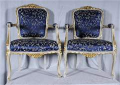 587: PR. FRENCH LXV STYLE CARVED OPEN ARMCHAIRS GILT &