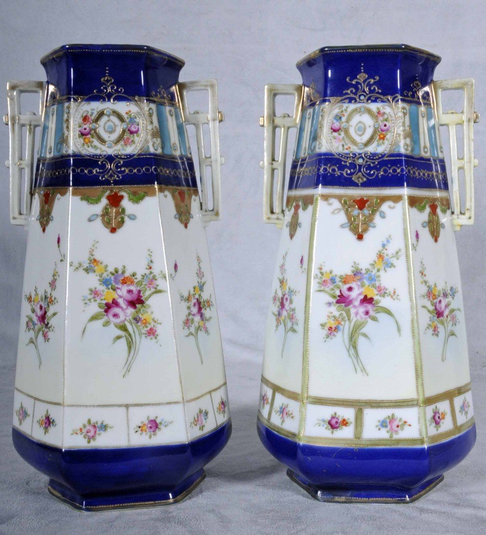 606: PAIR TWO HANDLED NIPPON PORCELAIN VASES. BLUE NECK