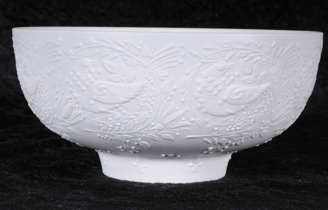 621: ROSENTHAL WHITE PORCELAIN BOWL WITH BIRD AND FLORA