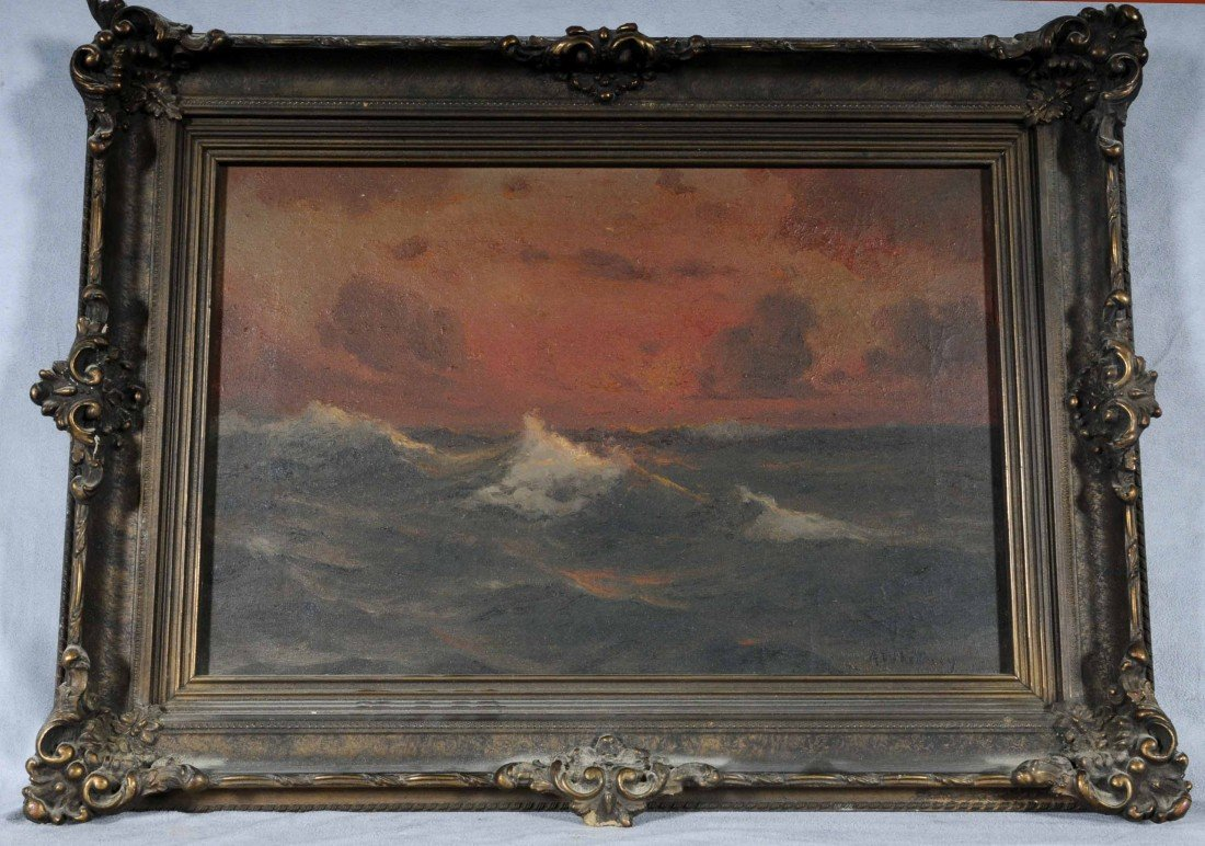 622: 19TH C. OIL PAINTING ON CANVAS.  SEASCAPE AT SUNRI