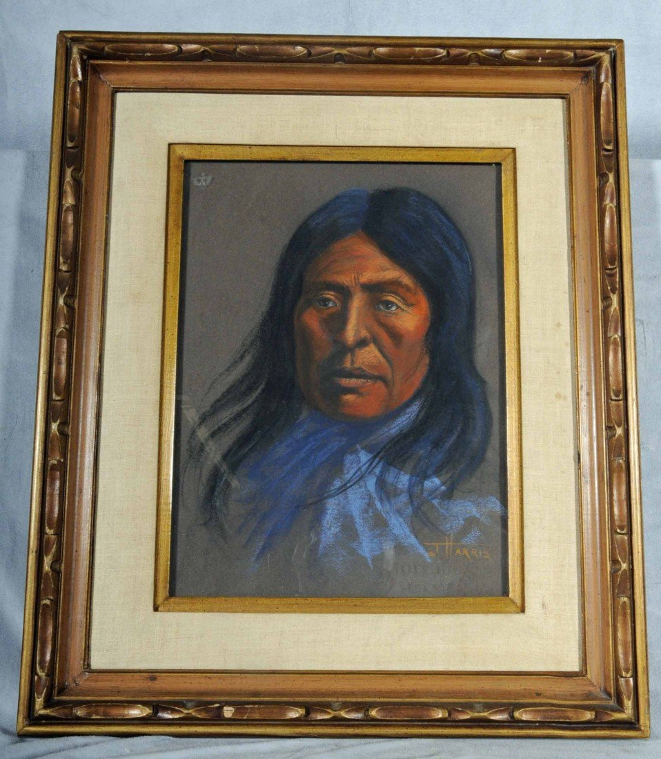 623: PASTEL DRAWING OF  AN INDIAN. SIGNED HARRIS.  GILT