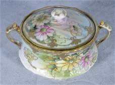 813: NIPPON PORCELAIN COVERED TWO HANDLE BOWL W/ LID.