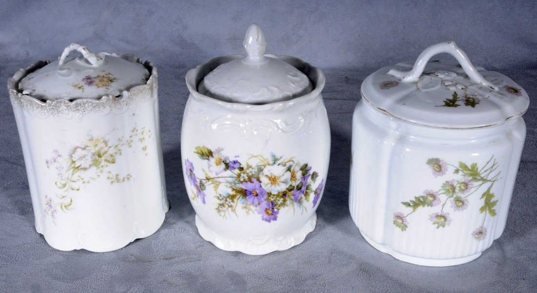 1: 3 WHITE PORCELAIN BISCUIT BARRELS. FLORAL DECORATION