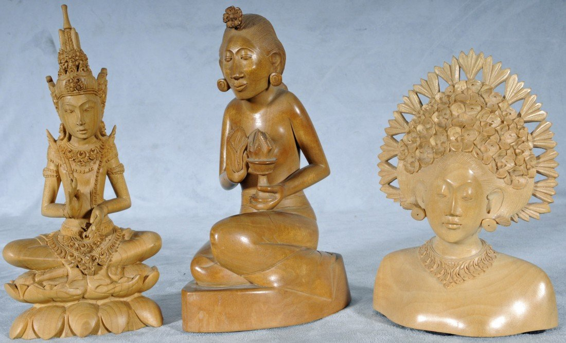 "3: 3 WOOD CARVED FIGURES FROM BALI.  9"" H - 7 1/4"" H."