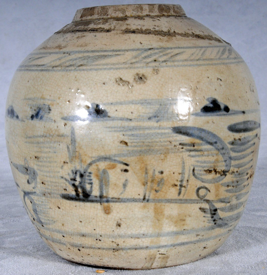 4: ANTIQUE CHINESE GINGER JAR W/ BLUE DECORATION. NO TO