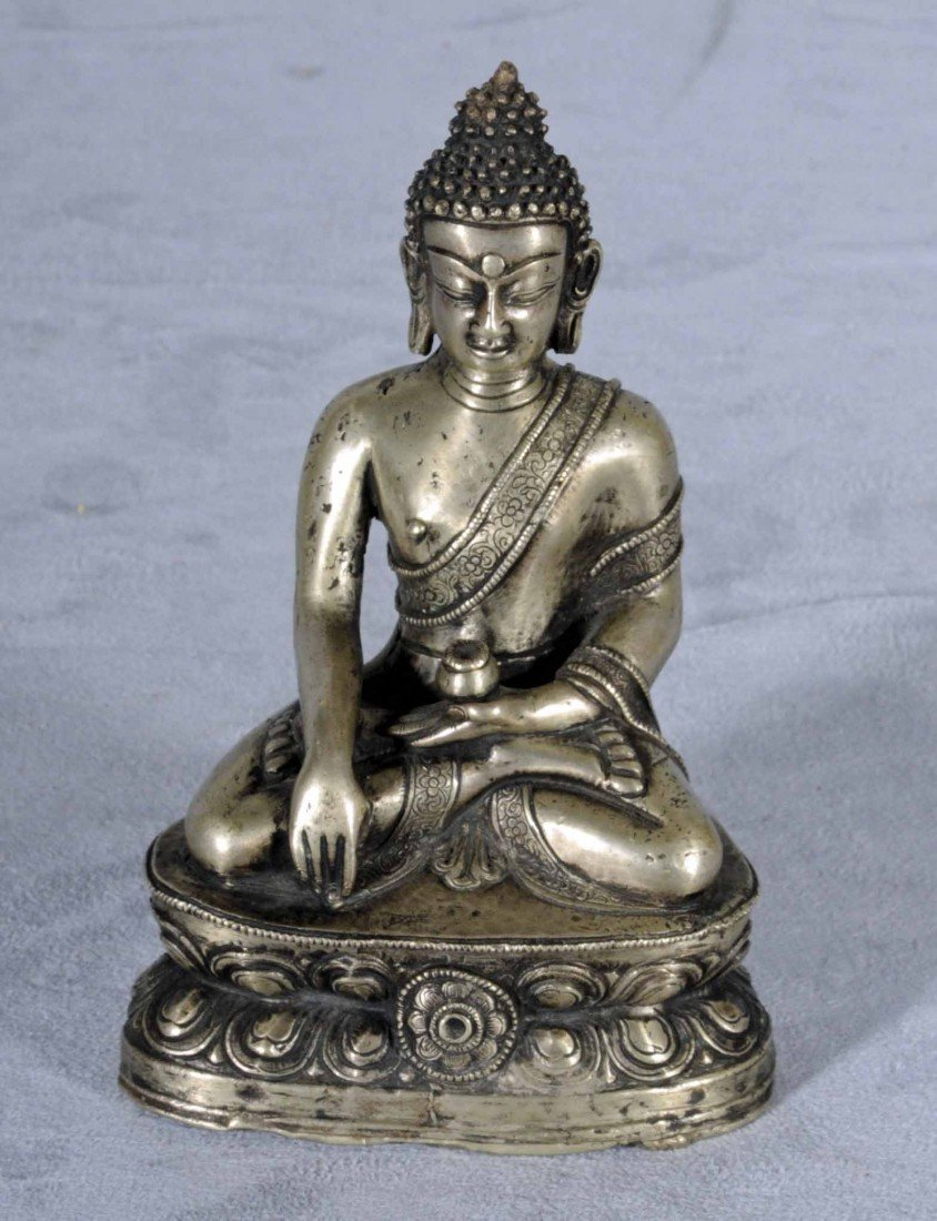 5: NEPAL NICKEL ALLOY SEATED BUDDHA. SEATED IN THE LOTU