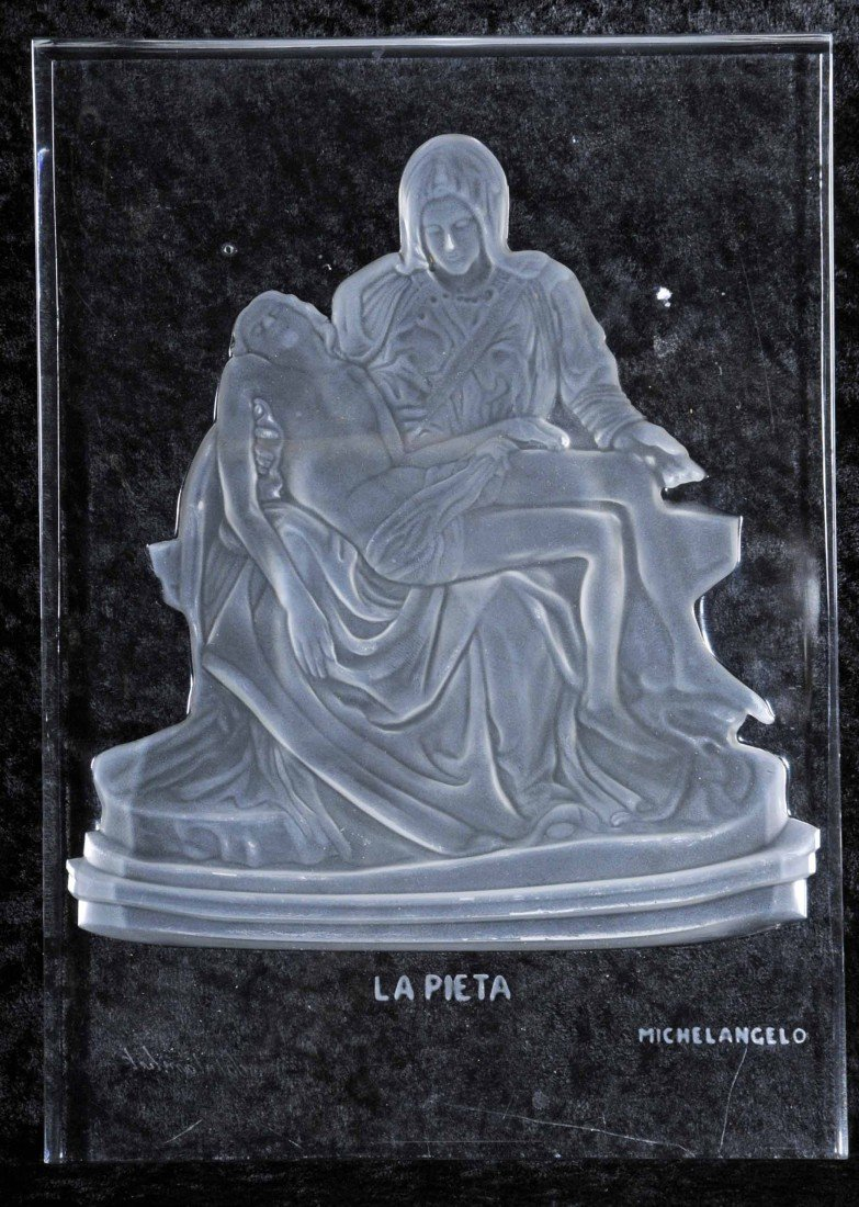 "9: VAL ST. LAMBERT GLASS PLAQUE DEPICTING ""LA PIETA"" OR"