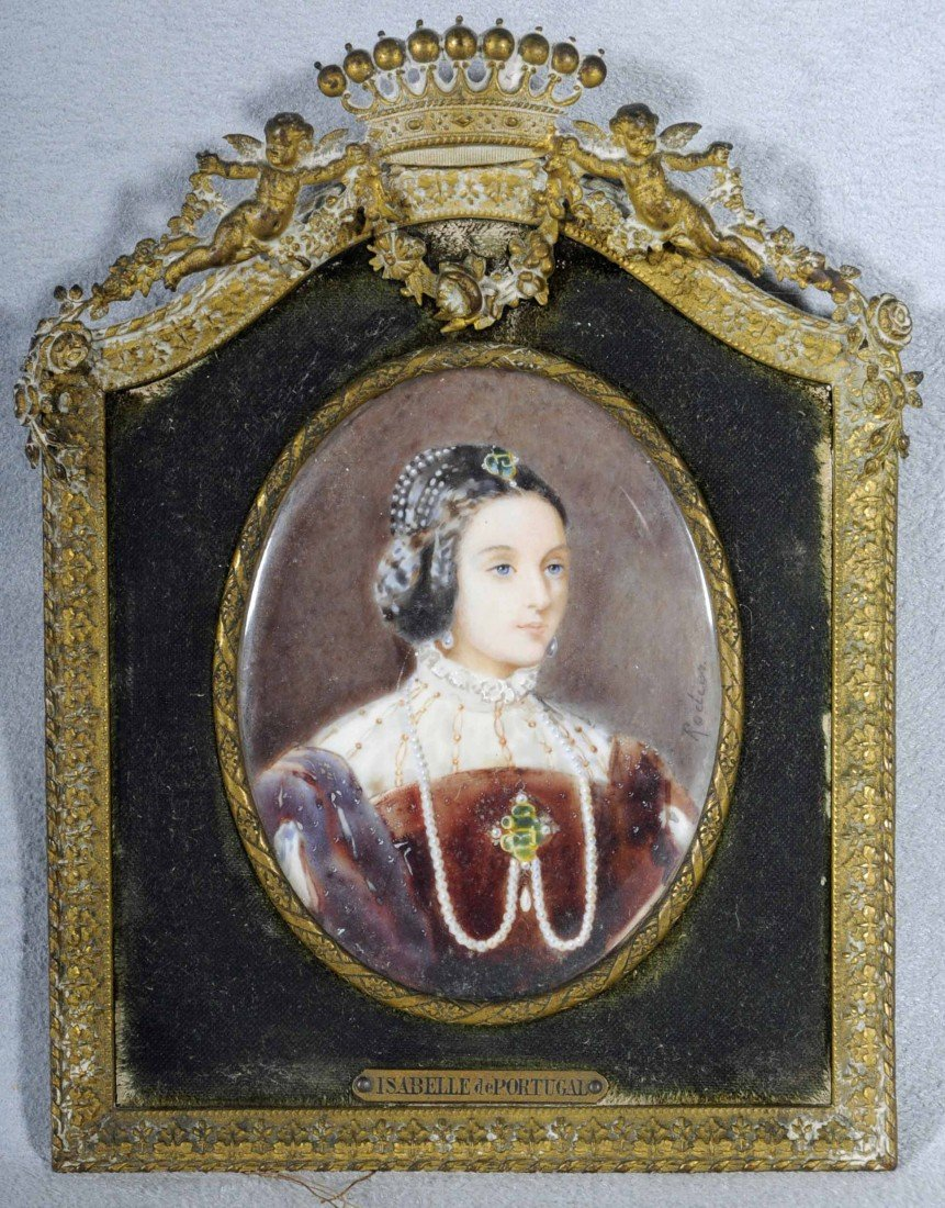 "12: OVAL PAINTED MINIATURE ON IVORY. DEPICTING ""ISABELL"