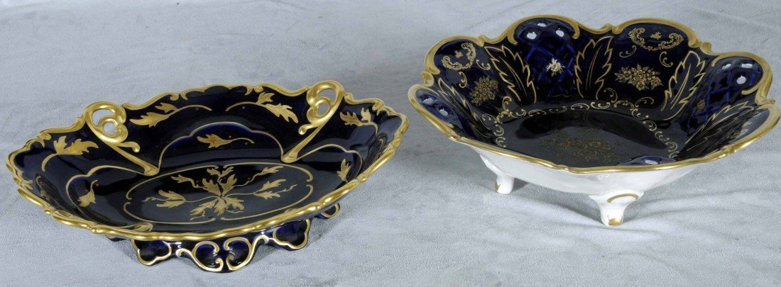 16: 2 COBALT BLUE GERMAN PORCELAIN BOWLS. GILT FLORAL D