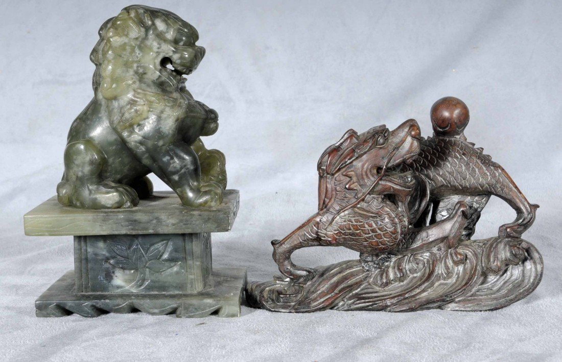 18: 2 SOAPSTONE CARVINGS. CONSISTING OF A SEATED FOO DO