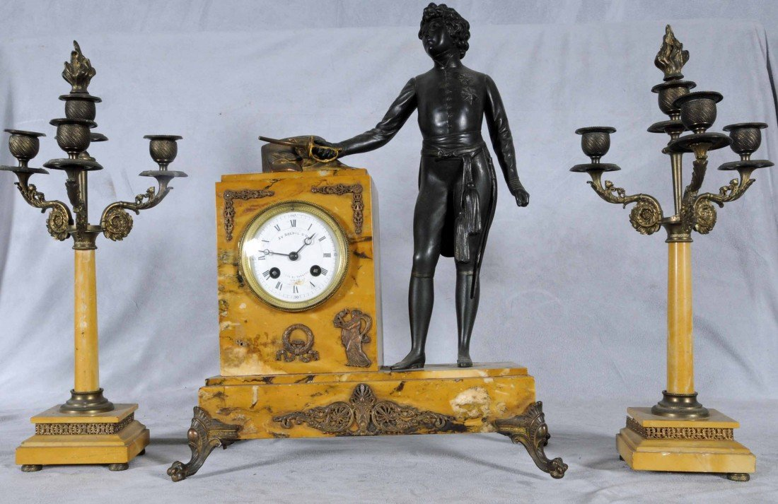23: ANTIQUE FRENCH 3 PC BRONZE & MARBLE CLOCK SET. CONS