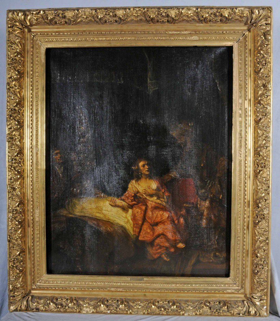78: EUROPEAN ANTIQUE OIL PAINTING OF AN INTERIOR FIGURA