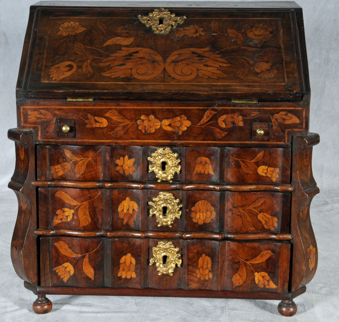 109: 19TH C. DUTCH MARQUETRY MINIATURE SLANT FRONT DESK