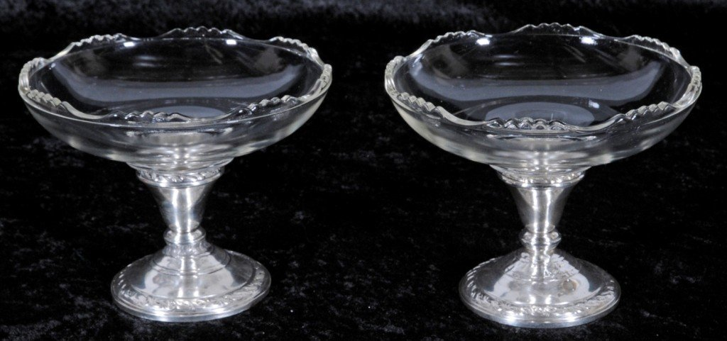 1: PR. STERLING SILVER & GLASS COMPOTES. GLASS BOWLS UN