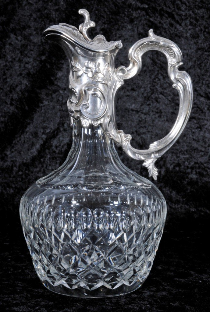 3: CUT GLASS & SILVER PLATED CARAFE. CUT GLASS BODY.  F