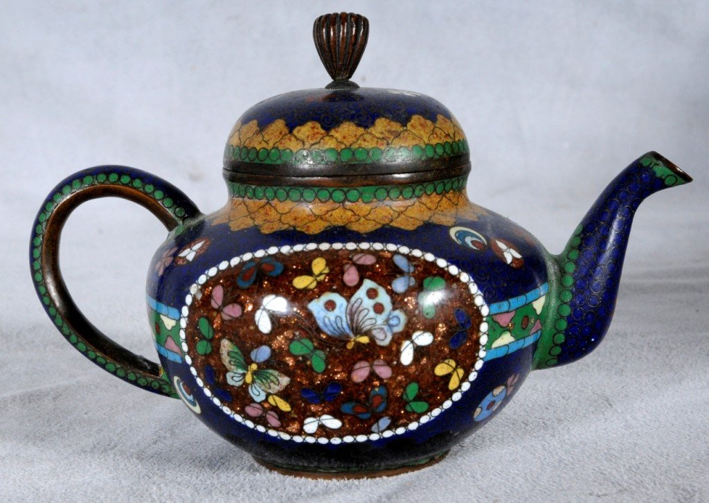 4: CHINESE CLOISONNE TEA POT W/ BIRD AND FLORAL DECORAT