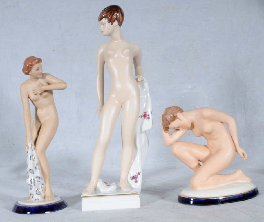 "6: 3 ROYAL DUX FIGURES OF NUDE LADIES.  12 1/4"" H - 9 1"