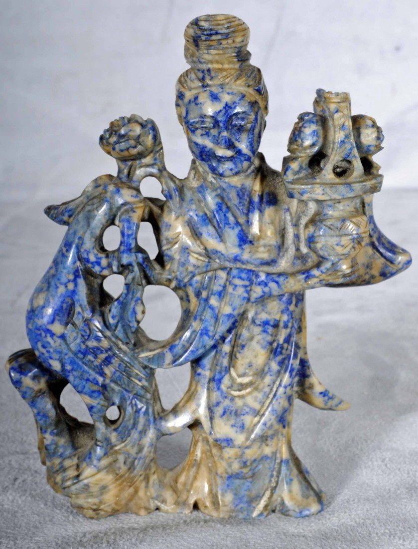 14: OLDER CHINESE CARVED LAPIS FIGURE OF A KUAN YIN. BI