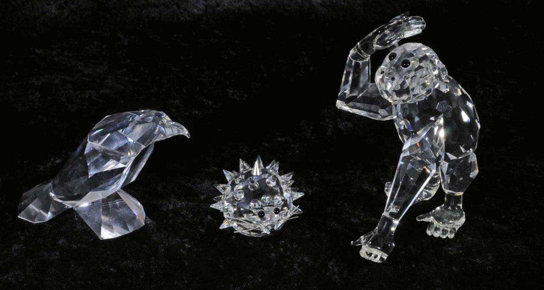 2: THREE GLASS ANIMALS.  2 ARE SWAROVSKI. CONSISTING OF