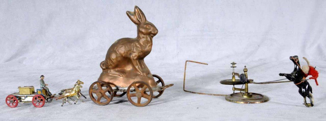 7: LOT OF 19TH C. TIN TOYS. CONSISTING OF A RABBIT, A F