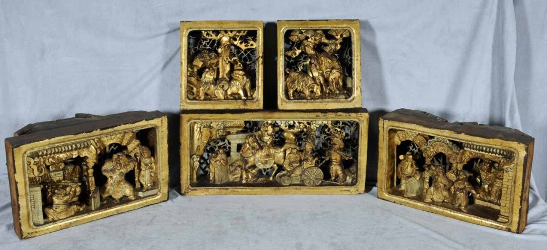 9: 5 ANTIQUE NING PO CARVED PANELS. THREE ARE SHADOW BO