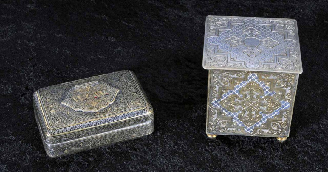 """17: TWO ETCHED METAL BOXES.  3 58"""" H X 3 3/8"""" W * 1 3/8"""