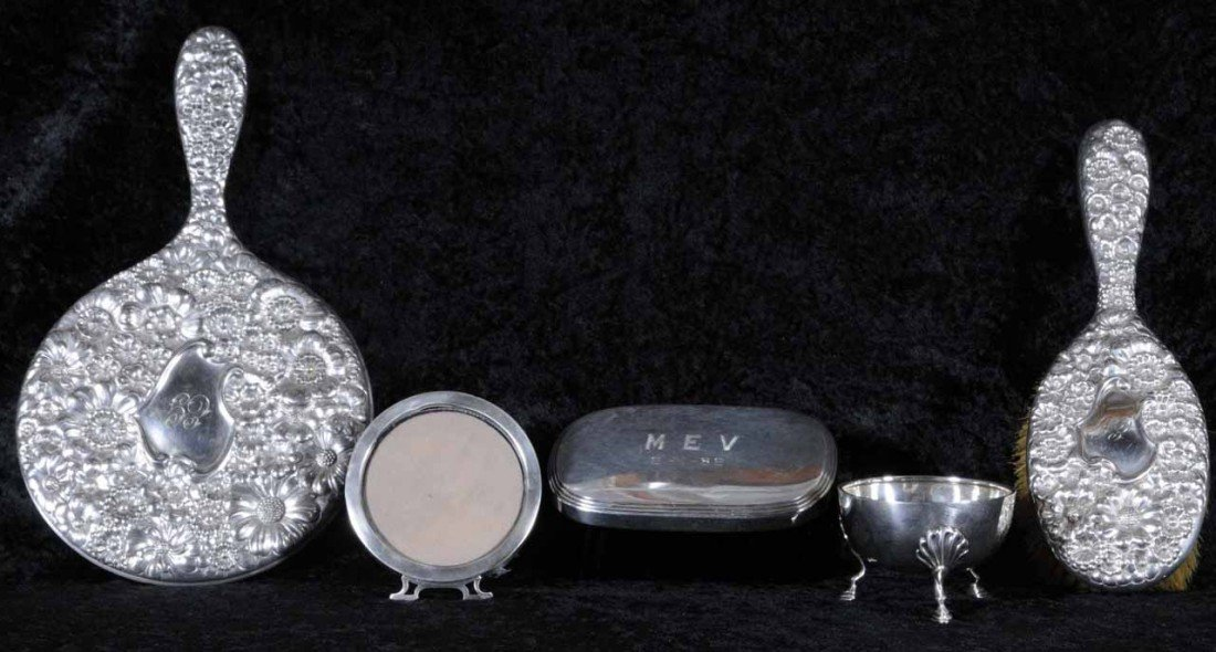 21: 5 PC. LOT OF STERLING SILVER & SILVER PLATE. CONSIS