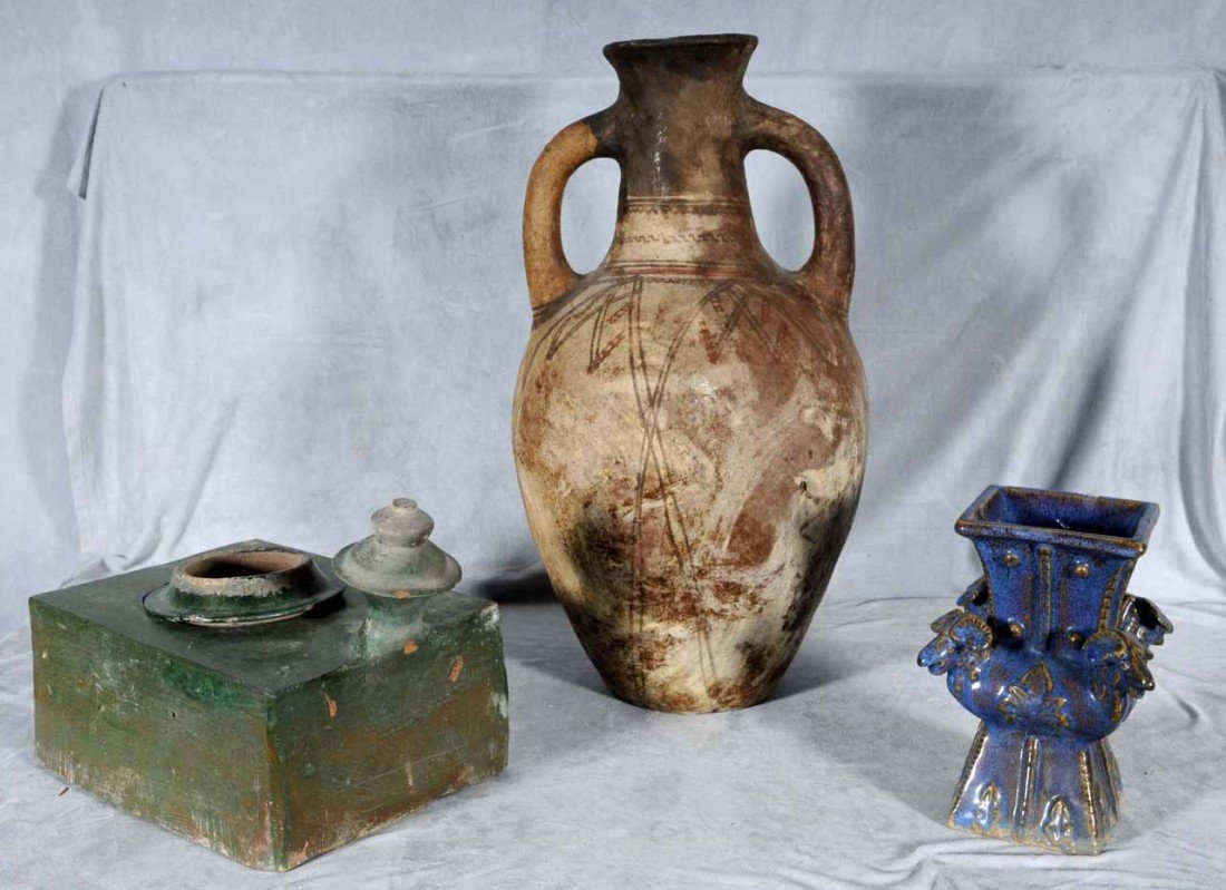 23: 3 PC. OF ASIAN POTTERY. GREEN GLAZED OVEN, PURPLE G