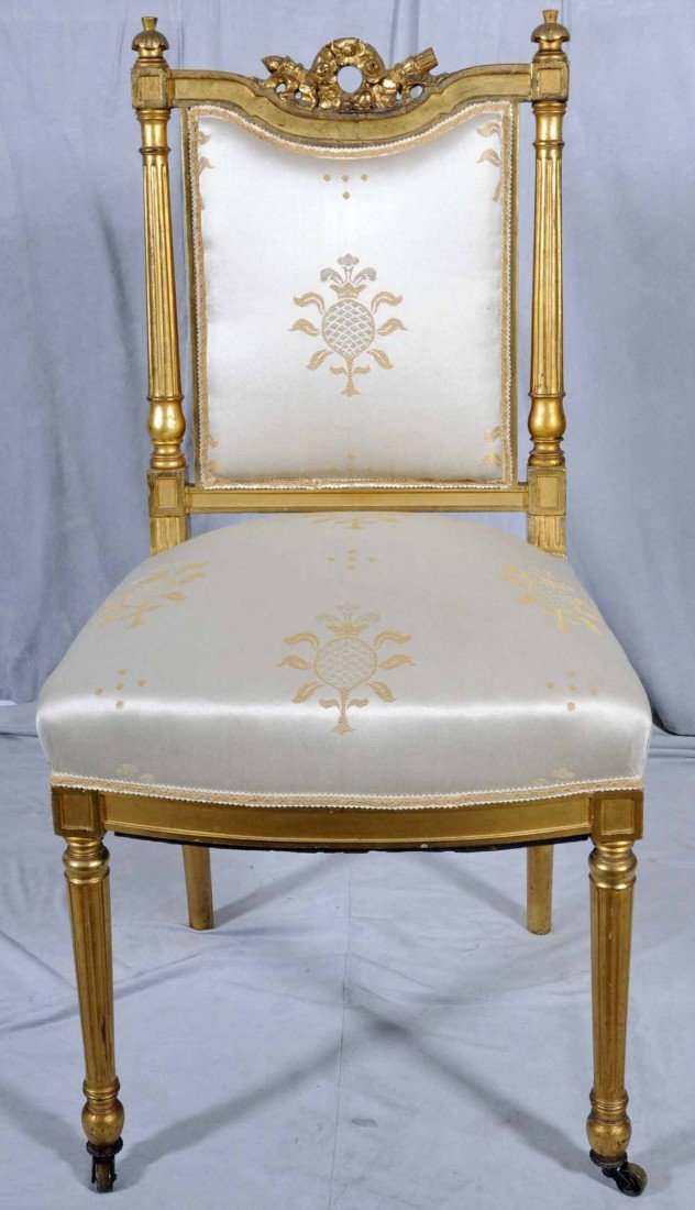 24: ANTIQUE FRENCH LXVI STYLE CARVED SIDE CHAIR. GILTWO