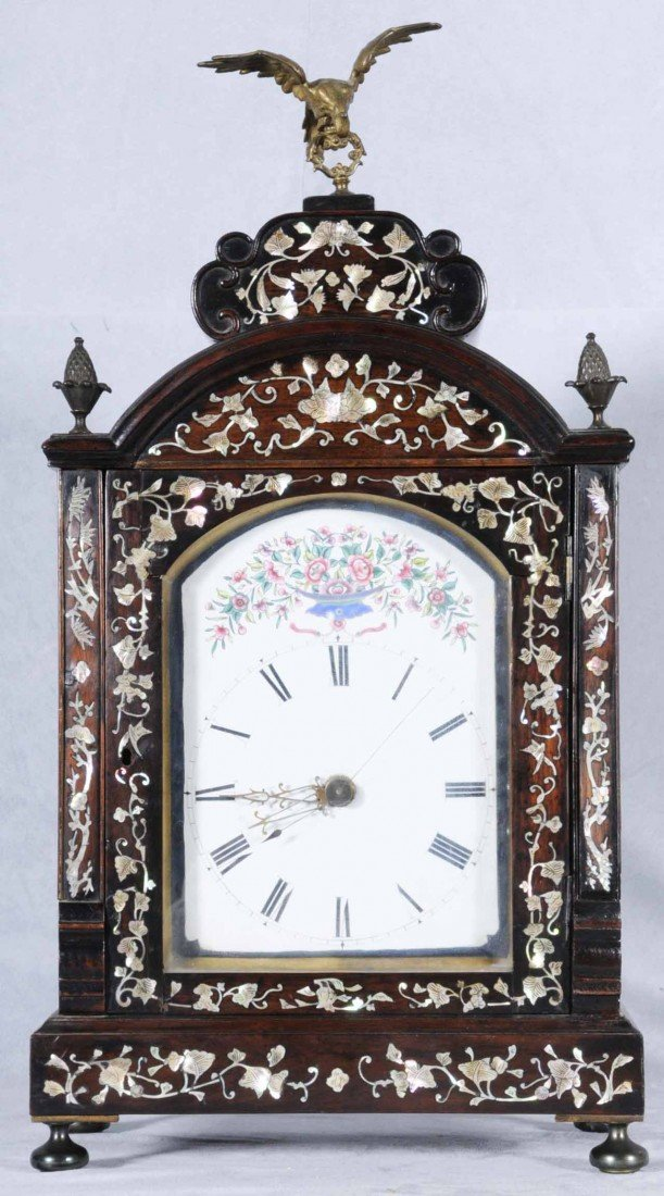 106: ROSEWOOD & M.O.P. BRACKET CLOCK. ENAMEL FACE AND F