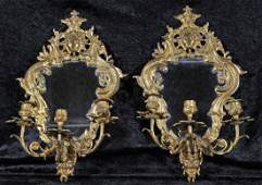 132 PR FRENCH BRONZE 3 LIGHT WALL SCONCES WITH FACIAL