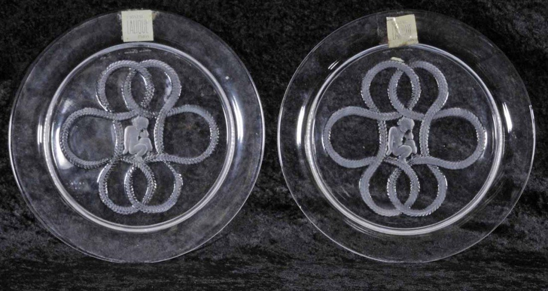 2: 2 FRENCH LALIQUE CRYSTAL PLATES. BOTH DEPICT A FIGUR