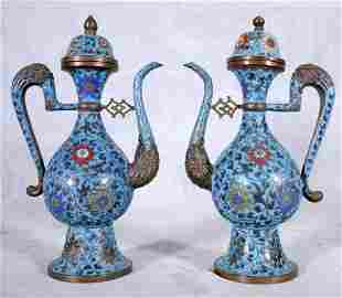 105: PR. BLUE  CHINESE MING CLOISONNE TEAPOTS. MULTI-CO