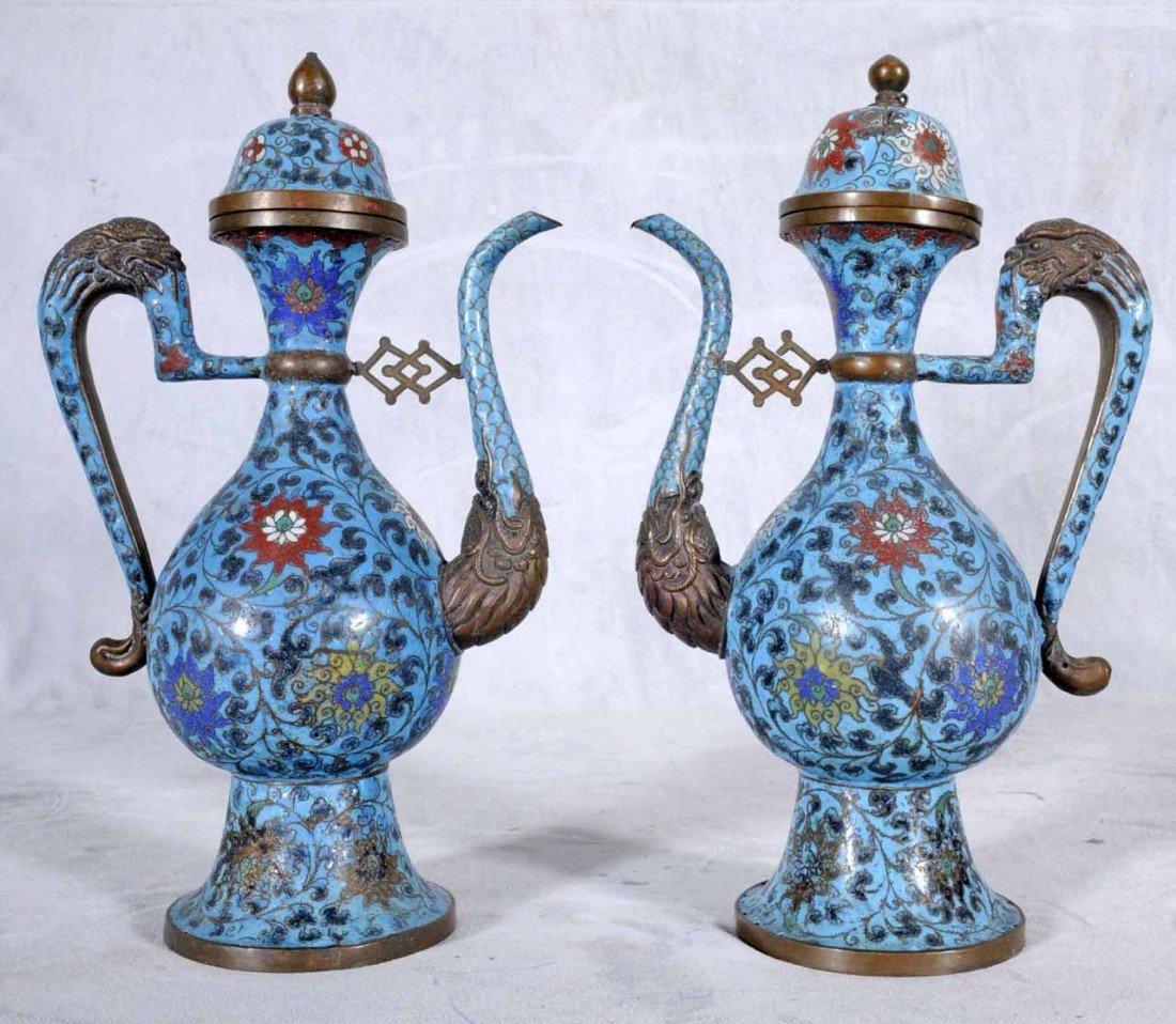 105: PR. BLUE  CHINESE MING CLOISONNE TEAPOTS. MULTI-CO