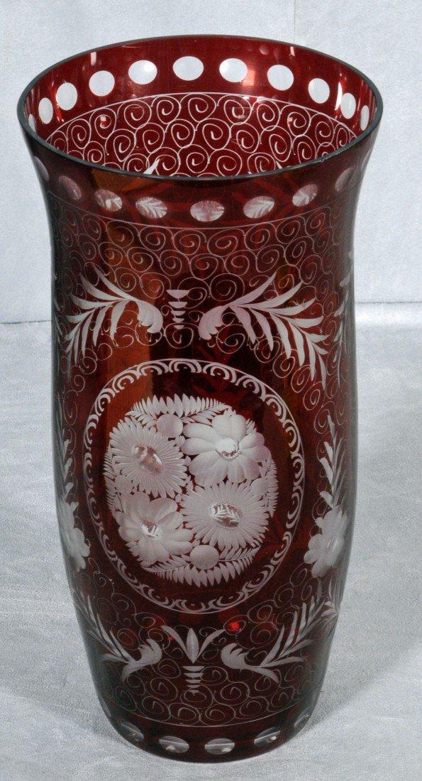 13: EGGERMAN STYLE CRANBERRY GLASS VASE. COPPER WHEEL E