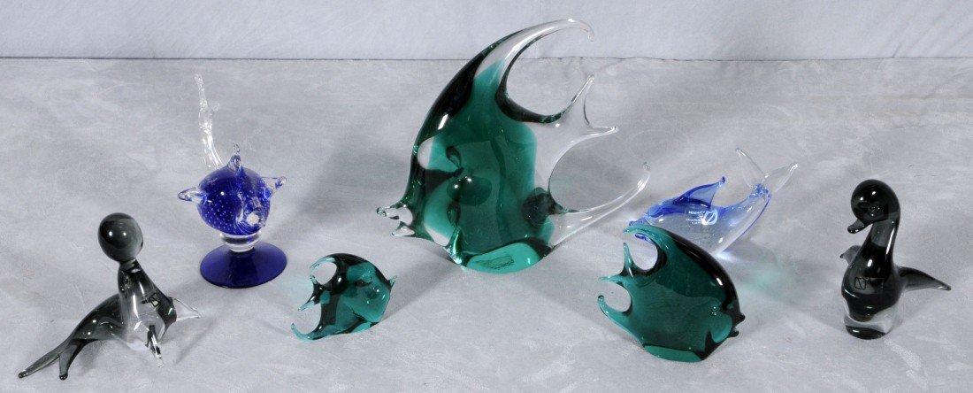 15: 7 PC. ITALIAN MURANO GLASS FISH & WATER ANIMALS.
