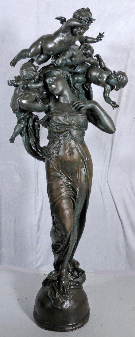146: LIFE SIZE BRONZE SCULPTURE OF A LADY W/ CUPIDS. EN