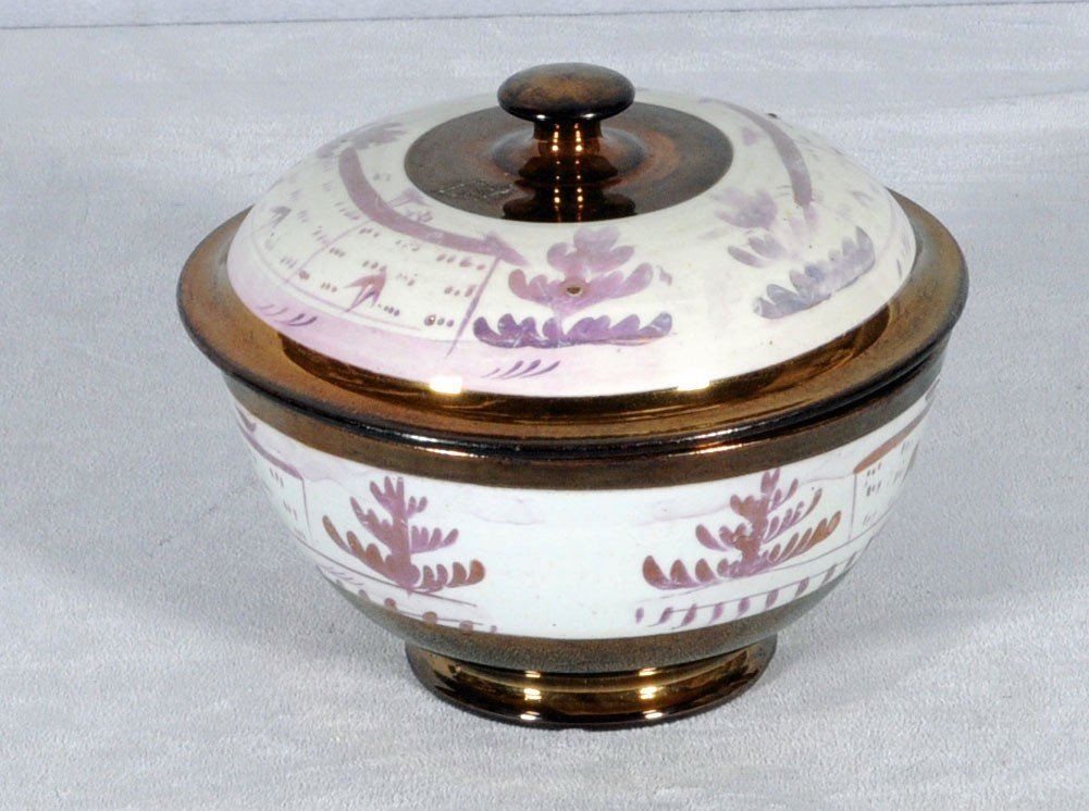13: 19TH C. ENGLISH COVERED LUSTRE BOWL. LANDSCAPE DECO