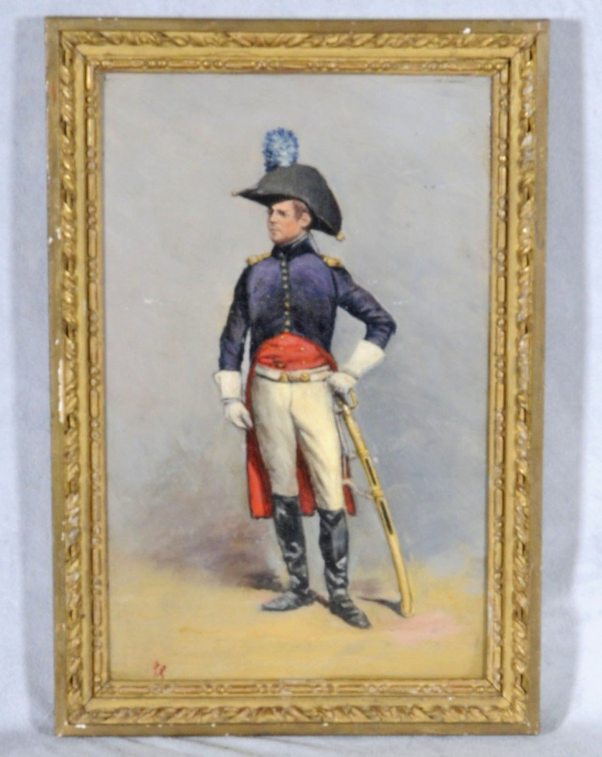 15: FRENCH OIL PTG. PNL. DEPICTING A SOLDIER. SIGNED W/