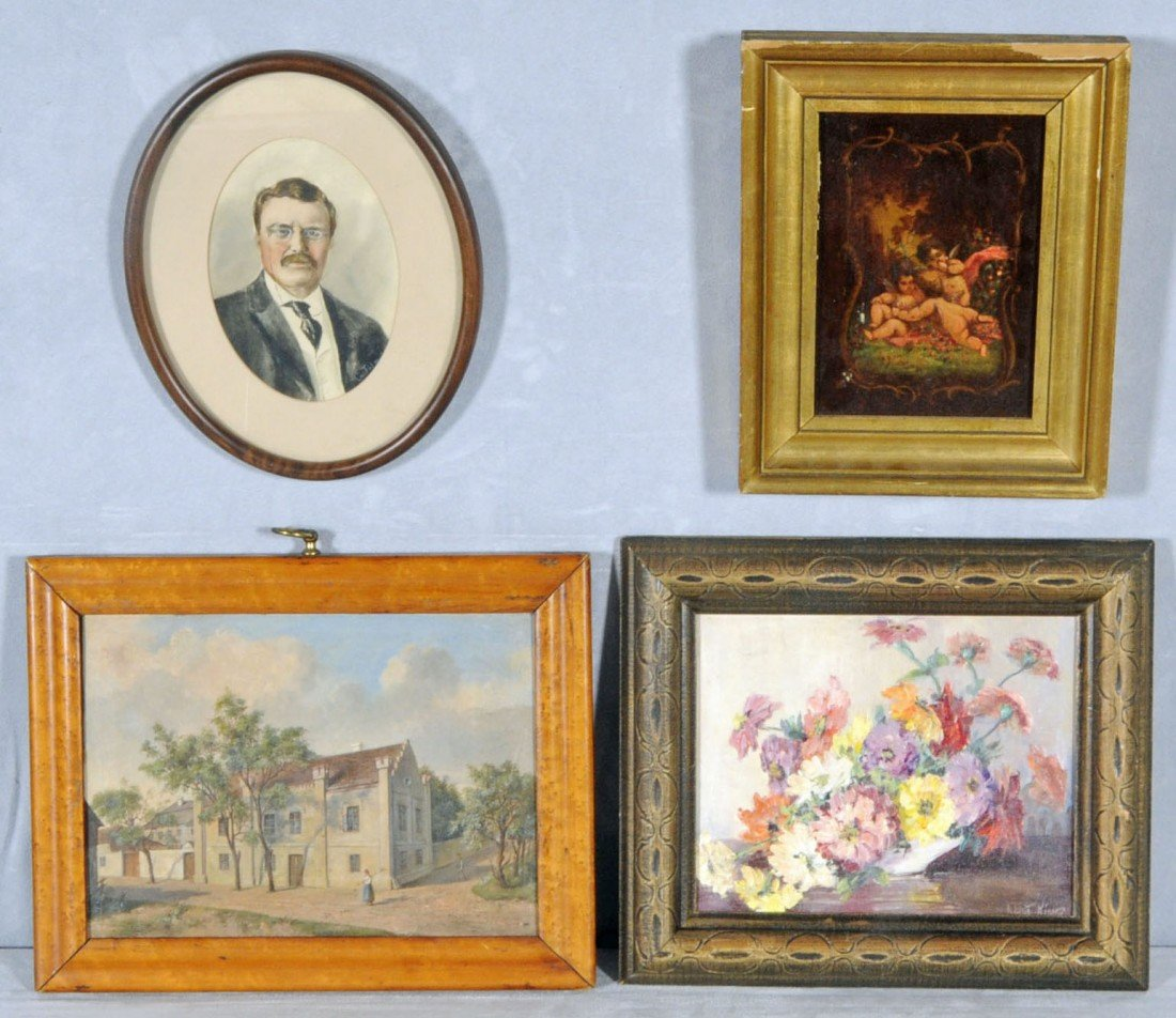 16: LOT OF 4 PICTURES. CONSISTING OF A 19TH C. OIL.PTG.