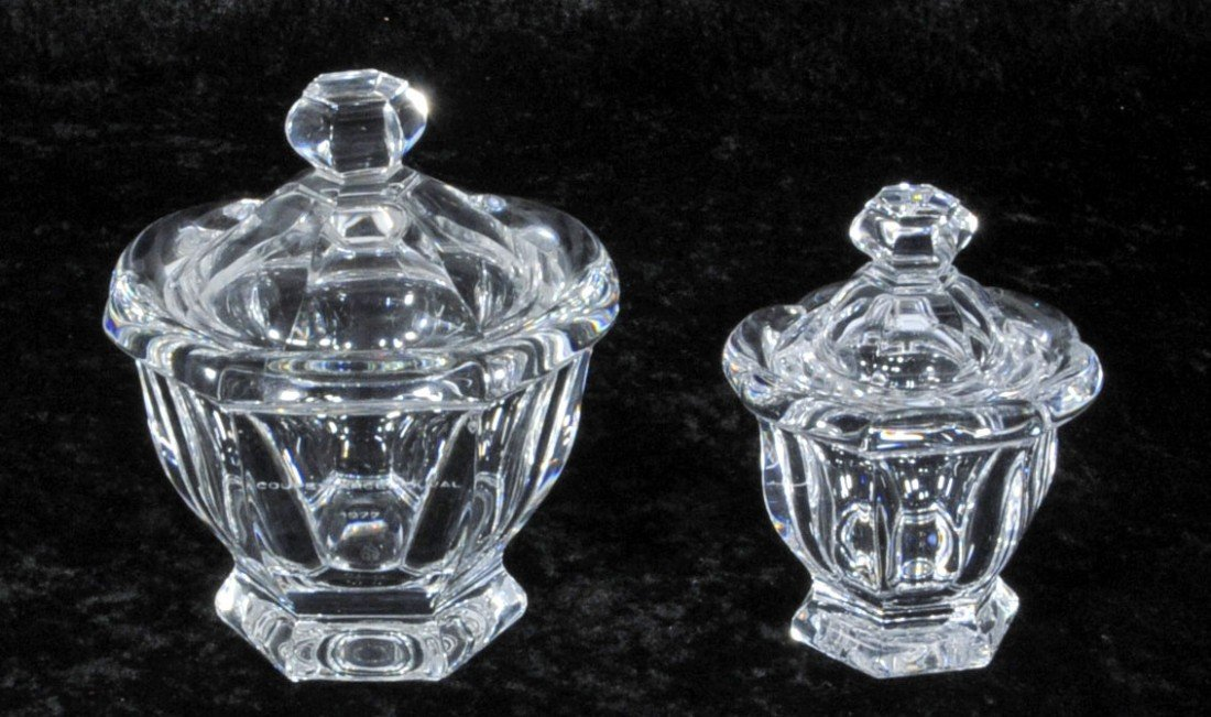 "19: 2 FRENCH BACCARAT CRYSTAL COVERED JARS.  5 1/2"" H X"