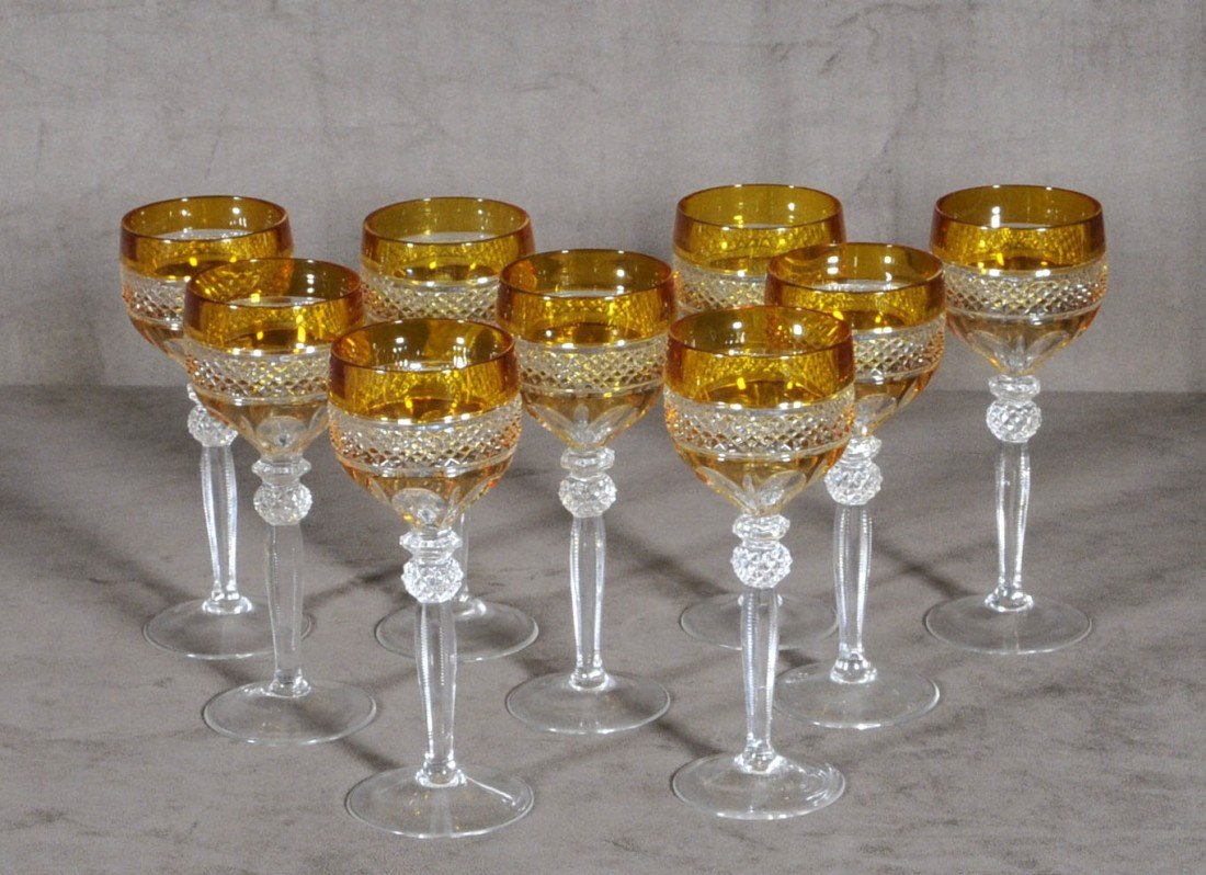 23: 9 CUT GLASS WINE GOBLETS. AMBER COLOR BANDS, CUT GL