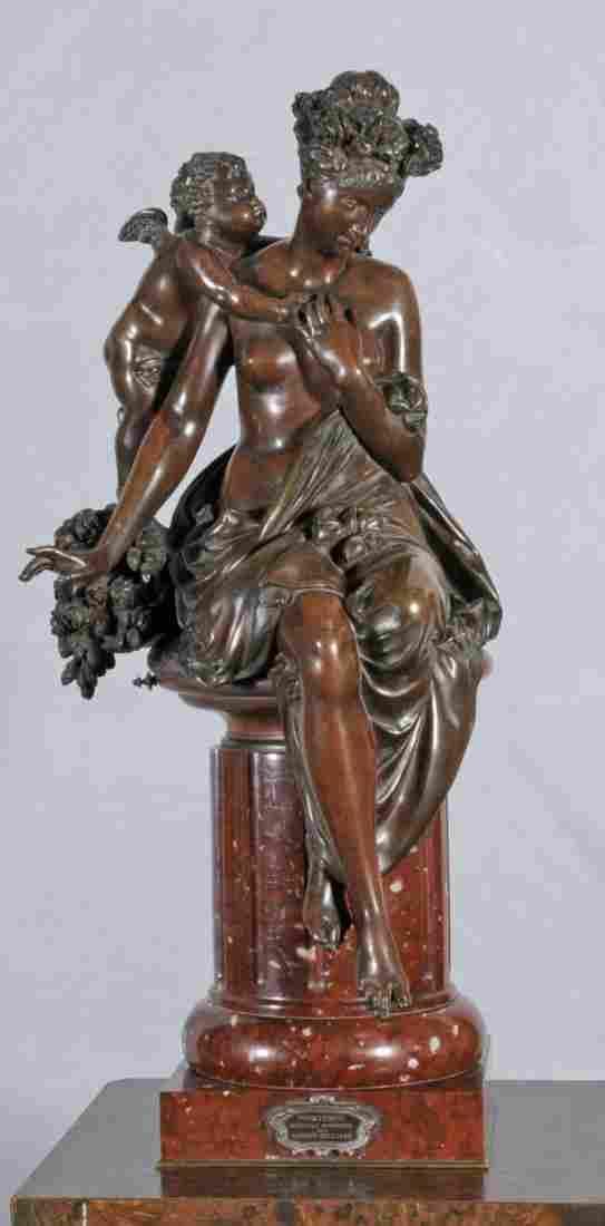 19TH C. FRENCH BRONZE SCULPTURE OF A WOMAN. SEMI-N