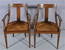 173: PR. ENGLISH WALNUT OPEN ARMCHAIRS WITH FLORAL MARQ