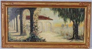 215 OIL PTG BD OF A LANDSCAPE SCENE DEPICTING AN ARCH