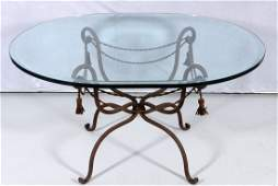 266 GLASS TOP WROUGHT IRON BASE COFFEE TABLE BEVELLED