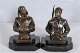 277 PAIR BRONZE FIGURAL BOOKENDS BUSTS OF MEN  NAVY