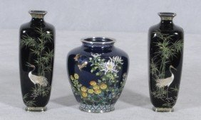3 ANTIQUE JAPANESE CLOISONNE BLUE VASES. CONSISTING