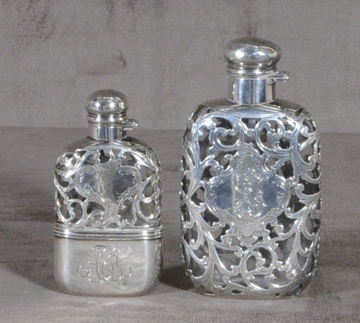 54: 2 LADIES SILVER OVERLAY & GLASS FLASKS. BOTH HAVE S