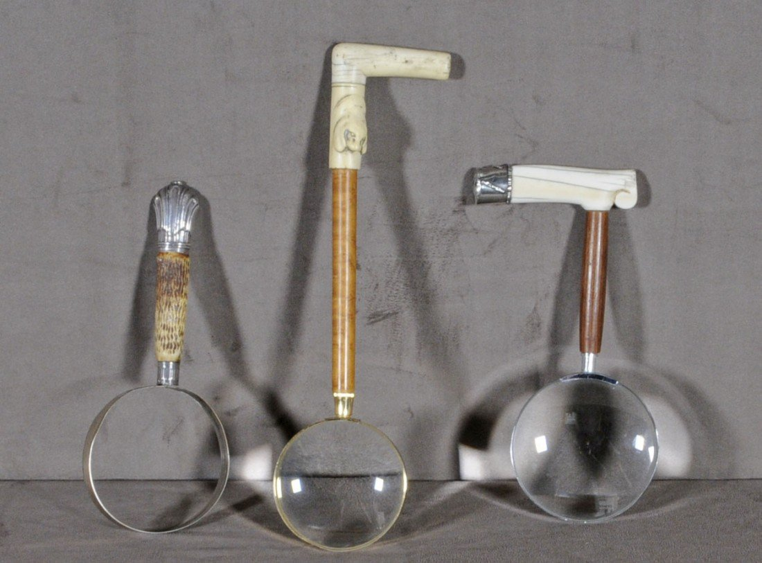 56: 3 MAGNIFYING GLASSES. HANDLES MADE OUT OF BONE, IVO
